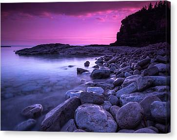 Early Spring Canvas Print - First Light On The Rocks At Indian Head Cove by Cale Best