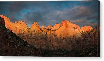 Earth Tones Canvas Print - First Light On The Towers - Zion N.p.  by Expressive Landscapes Fine Art Photography by Thom
