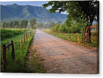 First Light - Sparks Lane At Cades Cove Tennessee Canvas Print by Thomas Schoeller