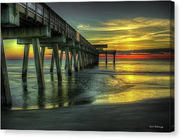 First Light Tybee Island Pier Seascape Art Canvas Print by Reid Callaway