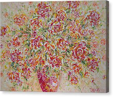 Canvas Print featuring the painting First Love Flowers by Natalie Holland