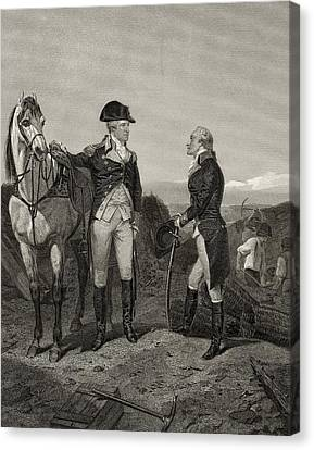 First Meeting Of George Washington 1732 Canvas Print by Vintage Design Pics