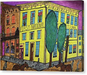 Canvas Print featuring the painting First National Hotel. Historic Menominee Art. by Jonathon Hansen