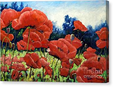First Of Poppies Canvas Print by Richard T Pranke