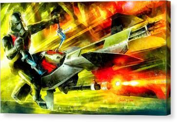 First Order Combat Speeder  - Aquarell Style -  - Da Canvas Print by Leonardo Digenio