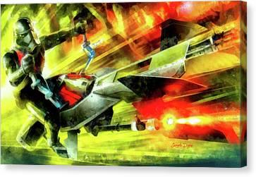 First Order Combat Speeder - Aquarell Style Canvas Print by Leonardo Digenio