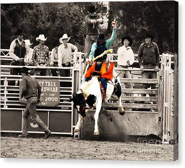 First Out Of The Chute Canvas Print by September  Stone