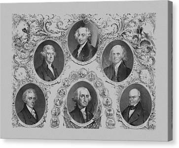 First Six U.s. Presidents Canvas Print by War Is Hell Store
