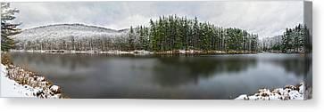 First Snow At Lake Nawahunta Canvas Print