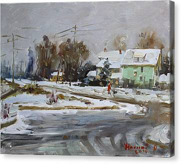 First Snow For This Winter Canvas Print by Ylli Haruni