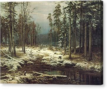 First Snow Canvas Print by Ivan Ivanovich Shishkin