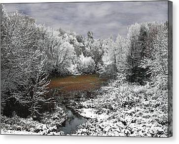 Canvas Print featuring the photograph First Snow On An Oxbow by Wayne King