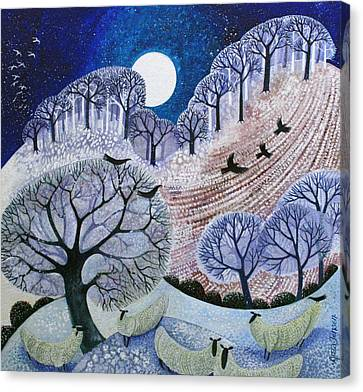First Snow Surrey Hills Canvas Print by Lisa Graa Jensen