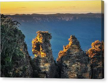 First Sunrays In The Morning At Three Sisters In  Blue, Mountain Canvas Print