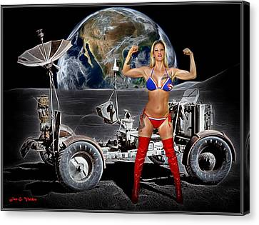 Dc Universe Canvas Print - First Woman On The Moon by Jon Volden