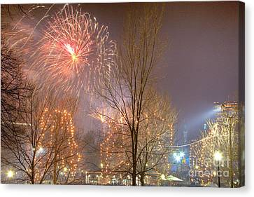 Canvas Print featuring the photograph Firstnight Fireworks by Susan Cole Kelly