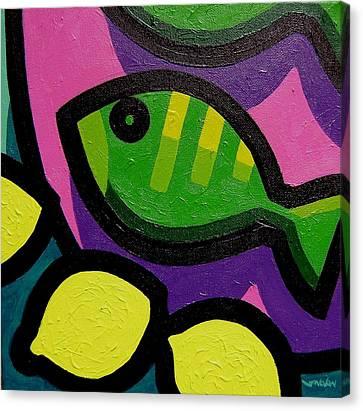 Fish And Lemons Canvas Print by John  Nolan