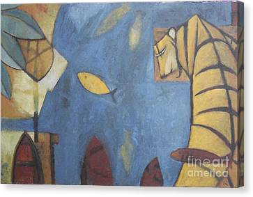 Fish And Tiger Canvas Print