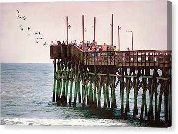Fish Are Biting At Ocean Isle Pier Canvas Print by Sandi OReilly