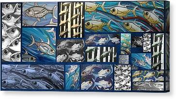 Canvas Print - Fish Collage by Joan Stratton