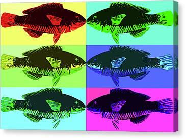 Canvas Print featuring the digital art Fish Dinner Pop Art by Nancy Merkle