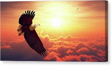 Fish Eagle Flying Above Clouds Canvas Print by Johan Swanepoel