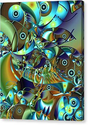 Canvas Print featuring the digital art Fish Fiesta by Lynda Lehmann