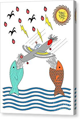 Fish Food Canvas Print by Methune Hively