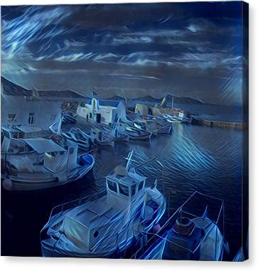 Canvas Print featuring the photograph Fish Harbour Paros Island Greece by Colette V Hera Guggenheim