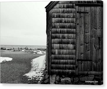 Fish House At The Sea Canvas Print by Lois Lepisto