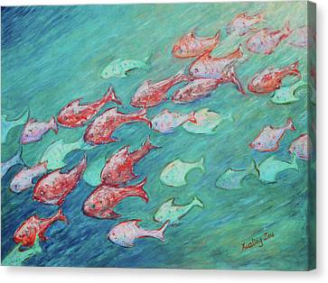 Canvas Print featuring the painting Fish In Abundance by Xueling Zou
