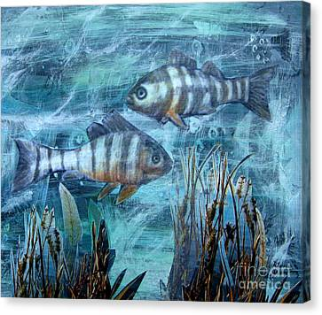 Canvas Print featuring the mixed media Fish In Icy Water by Patricia Januszkiewicz