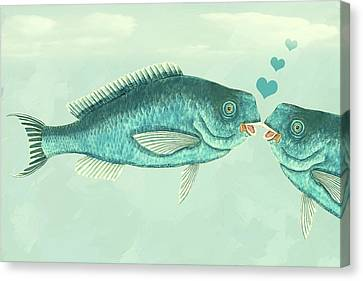 Two Fish Canvas Print - Fish Love Whimsical Wall Art by Georgiana Romanovna