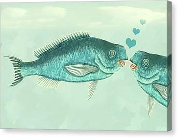 Fish Love Whimsical Wall Art Canvas Print by Georgiana Romanovna