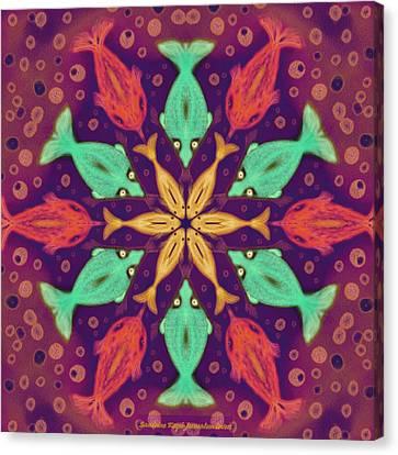 Fish Mandala Canvas Print by Sandrine Kespi
