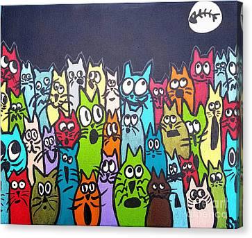 Fish Moon Cats Canvas Print