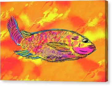 Fish On Orange Canvas Print by Skip Nall