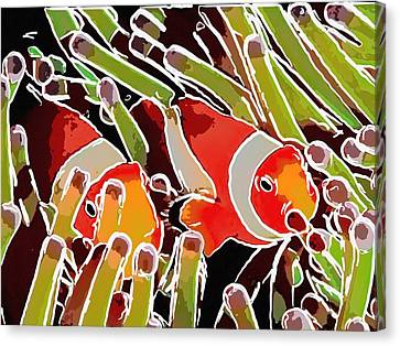 Fish On The Coral Reef Canvas Print by Lanjee Chee