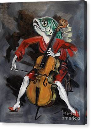 Fish Playing Cello Canvas Print by Ellen Marcus