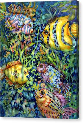 Fish Tales Iv Canvas Print by Ann  Nicholson