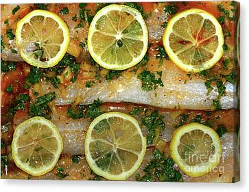 Still Life With Fish Canvas Print - Fish With Lemon And Coriander By Kaye Menner by Kaye Menner
