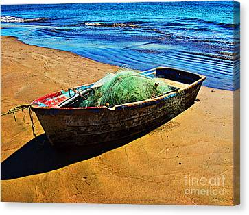 Fisher Boat By Michael Fitzpatrick Canvas Print by Mexicolors Art Photography