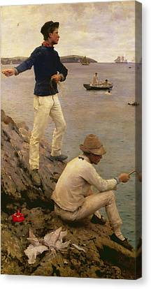 Fisher Boys Falmouth Canvas Print by Henry Scott Tuke