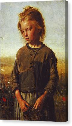 Fisher Girl Canvas Print by Ilya Efimovich Repin
