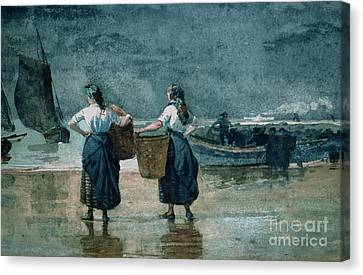 Fisher Girls By The Sea Canvas Print