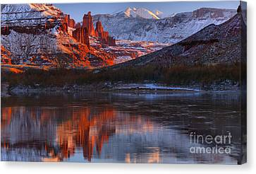 Canvas Print featuring the photograph Fisher Towers And La Sal Mountains by Adam Jewell