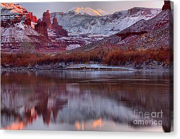 Canvas Print featuring the photograph Fisher Towers Fading Sunset by Adam Jewell