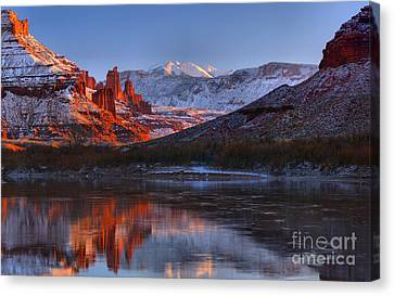 Canvas Print featuring the photograph Fisher Towers Glowing Reflections by Adam Jewell