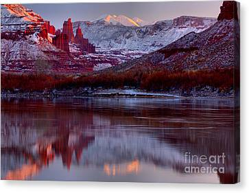 Canvas Print featuring the photograph Fisher Towers Landscape Glow by Adam Jewell