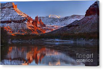 Canvas Print featuring the photograph Fisher Towers Sunset Glow Panorama by Adam Jewell